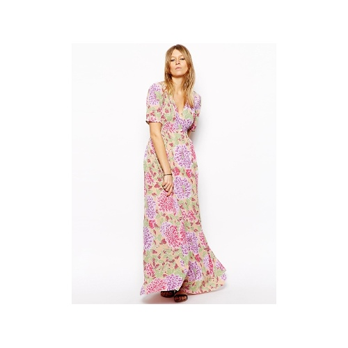 Maxi Tea Dress In Pastel Floral Print