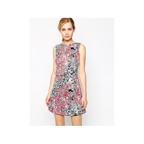 Shift Dress in Scuba With Paisley Print