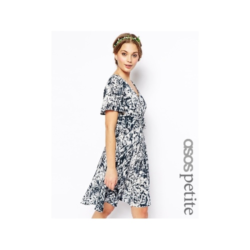 Exclusive Printed Dress with Tie Front Details