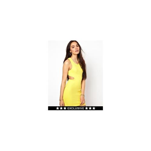 Motel Mini Dress With Cut Out - Yellow