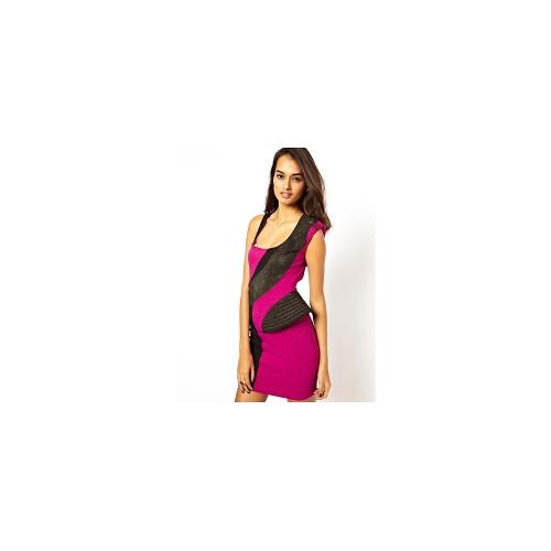 Forever Unique Foxtrot Dress with Contrast Panels - Magenta