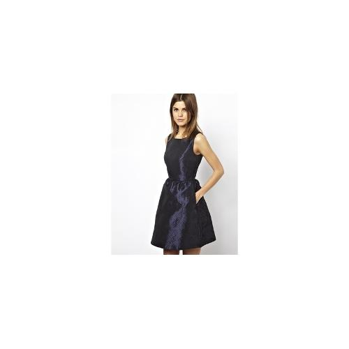 A Wear Quilted Skater Dress - Navy