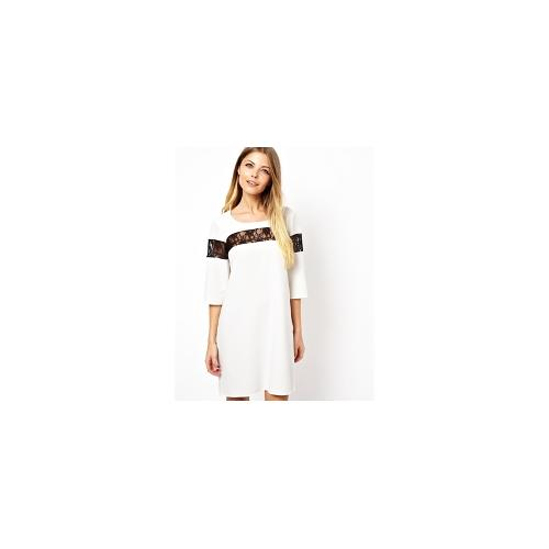 Love Shift Dress with Lace Insert - White with black lac