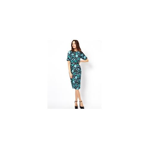 ASOS Wiggle Dress In Floral Print With Belt