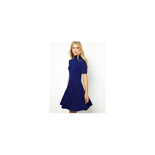 Oasis Cable Polo Dress - Blue