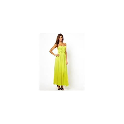 ASOS Bandeau Ruched Maxi Dress - Chartreuse