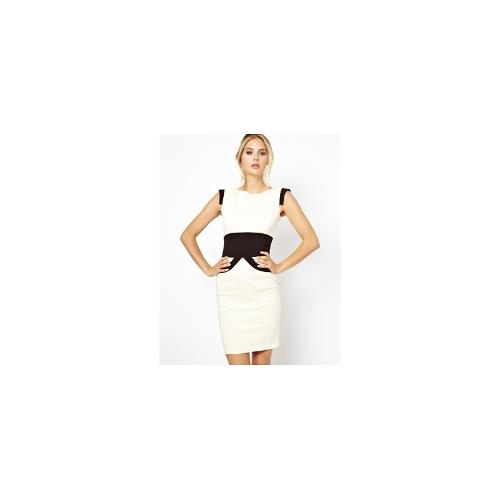 Tempest Ollie Dress In Lace With Contrast Waist - White