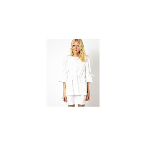 See by Chloe Poplin Dress with Gathered Waist Detail - White