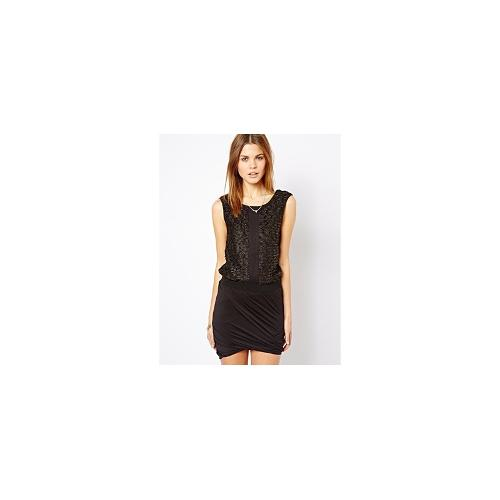 Y.A.S Eve Dress with Tinsel Panel Top - Black