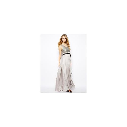 Jovonna Alica Maxi Dress with Sequin Top - Silver
