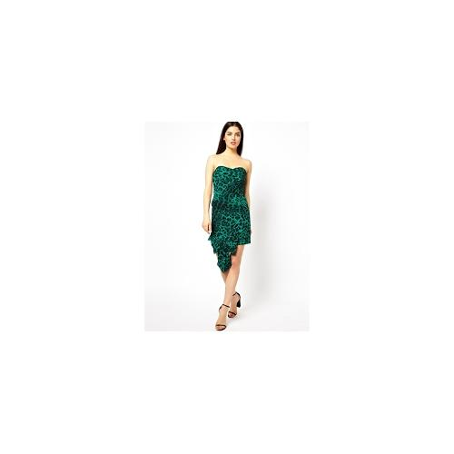 Forever Unique Leopard Strapless Dress - Jade