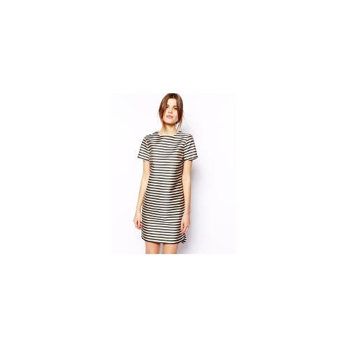 ASOS Structured Shift Dress In Stripe