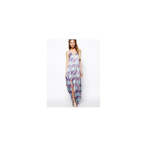 ASOS Strappy Tropical Palm Print Maxi Dress