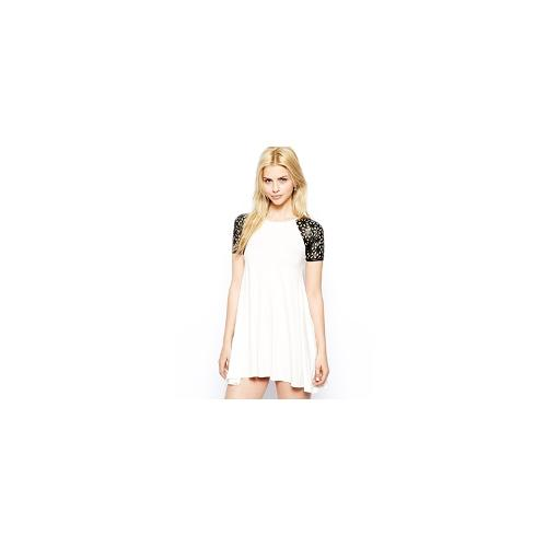 Club L Swing Dress with Laser-Cut Sleeves