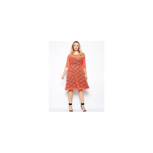 Lucabella Plus Size Midi Lace Party Dress With Contrast Lining - Orange