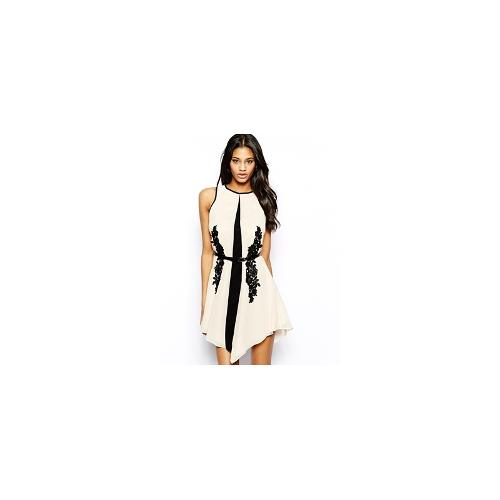 Little Mistress Belted Swing Dress in Monochrome with Lace Detail - Cream