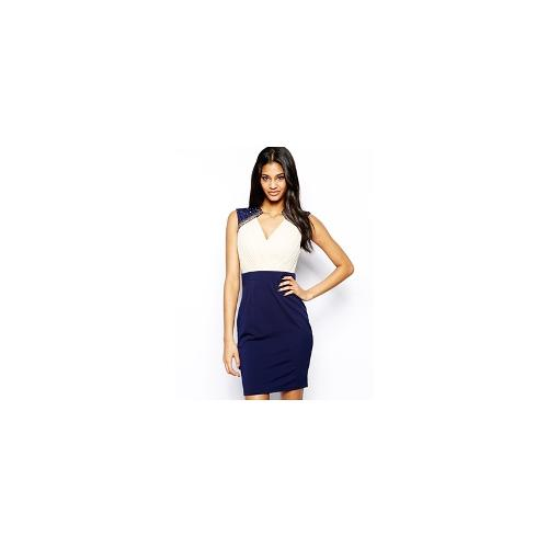 Little Mistress Pencil Dress with Embellished Shoulder - Navy/cream top