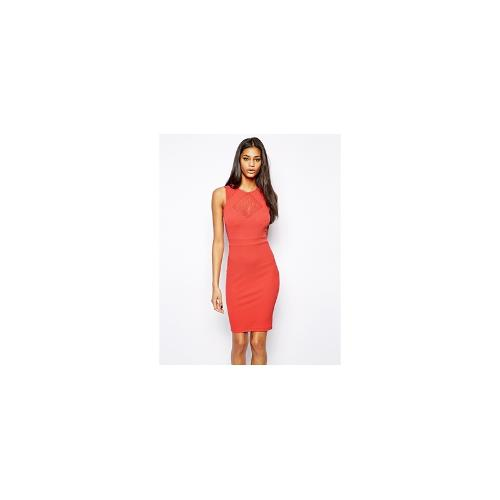 TFNC Bodycon Dress With Lace Inserts