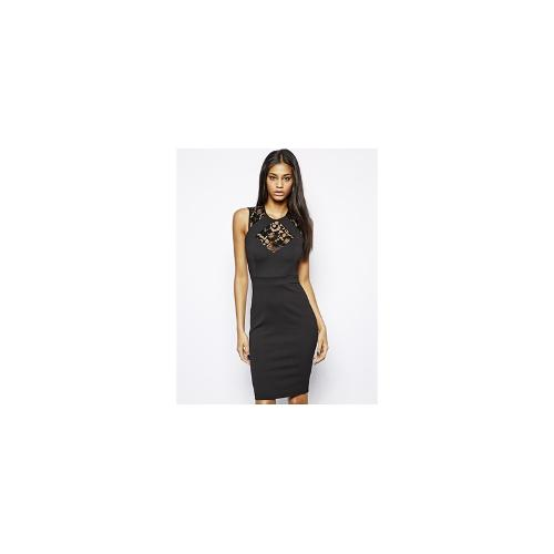TFNC Bodycon Dress With Lace Inserts - Black