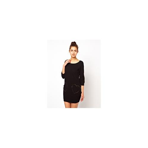 Love Moschino Jumper Dress with Signature Heart Pockets
