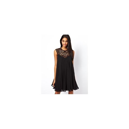 Lipsy VIP Trapeze Swing Dress with Cage Neck - Black