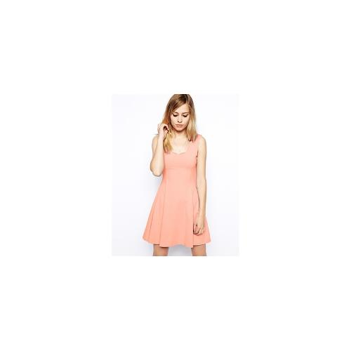 ASOS Skater Dress with Scallop Edge - Peach