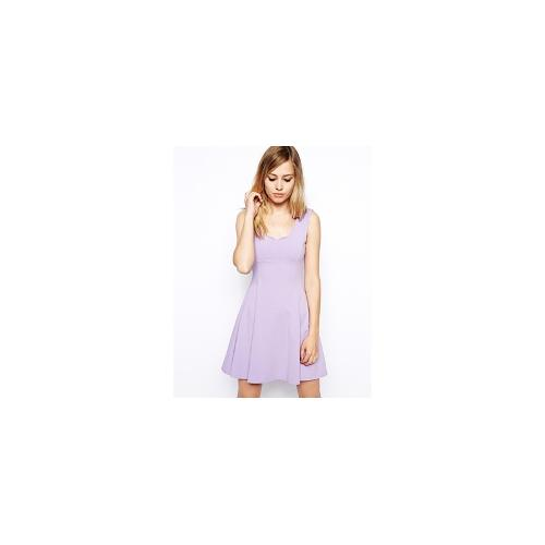 ASOS Skater Dress with Scallop Edge - Lilac