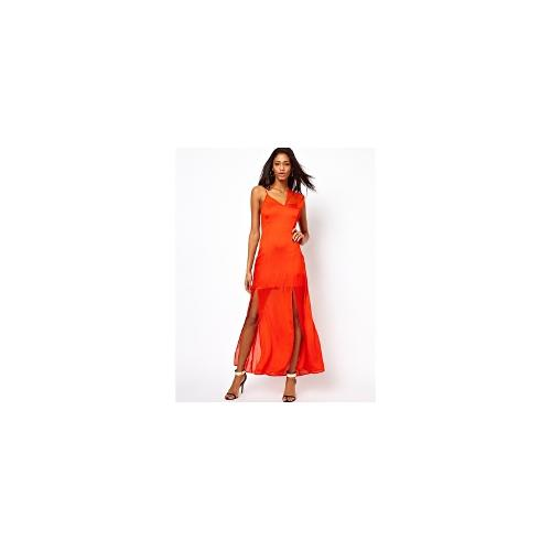 ASOS Maxi With Lace And Cami Strap - Orange