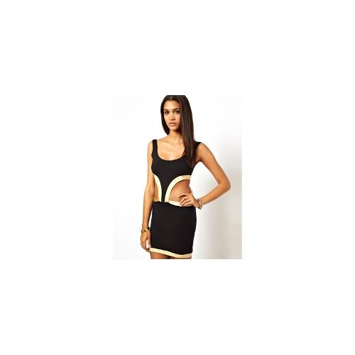 Quontum Cut Out Bodycon Dress - Black/nude
