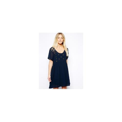 Goldie Smock Dress With Beading - Navy
