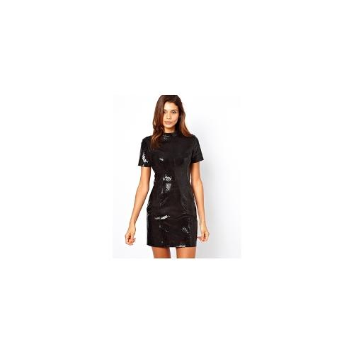 ASOS Leather High Shine T-shirt Dress
