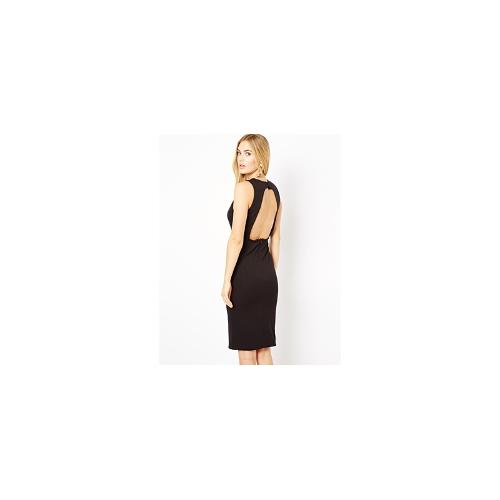 AQ AQ Jane Midi Dress With Plunge Neck And Open Back - Black