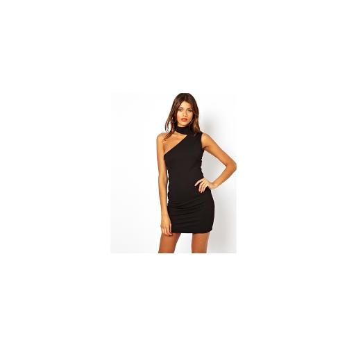 AQ AQ Newton Dress With Slash Neck And Open Back - Black