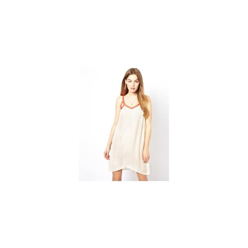 By Zoe Slip Dress with Contrast Neon Trim - Offwhite