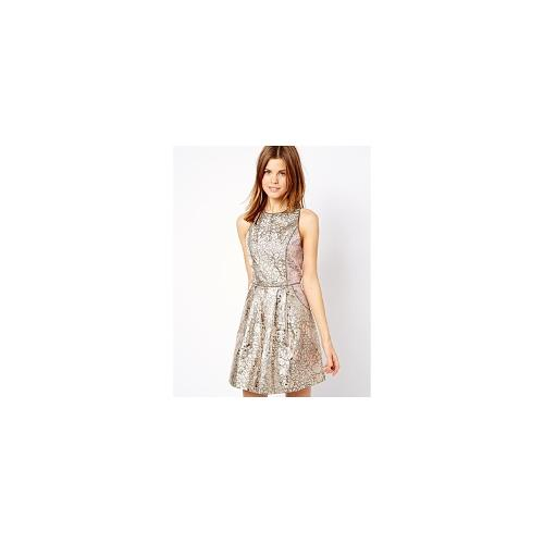 A Wear Galatic Foil Racer Dress - Silver