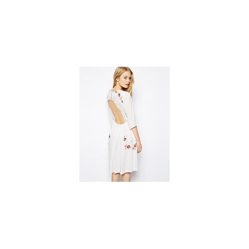 ASOS Premium Skater Dress With Cut Out Back And Embroidery