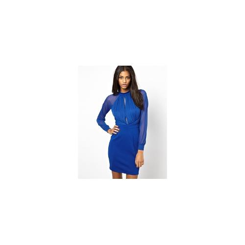 ASOS Ruched Bodycon Dress With Keyhole Detail - Cobalt