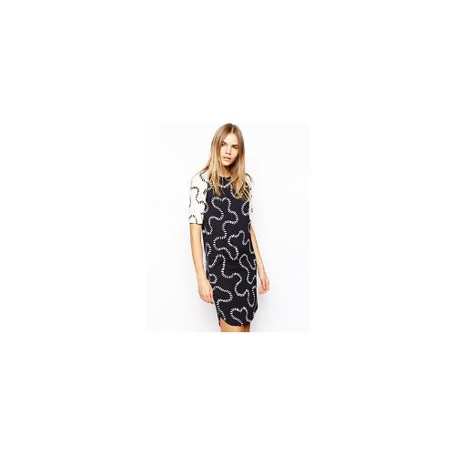 HOUSE OF HACKNEY Raglan T-Shirt Dress in Mixed Squiggle Print - Navy squiggle