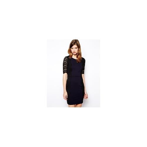 Darling Dress With Lace Sleeve - Navy