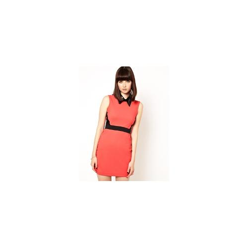 Markus Lupfer Sequin Collar Bodycon Panel Dress - Coral