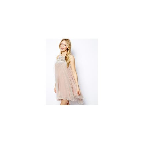 Lydia Bright Sleeveless Swing Dress With Lace Neck - Pale pink/cream lace