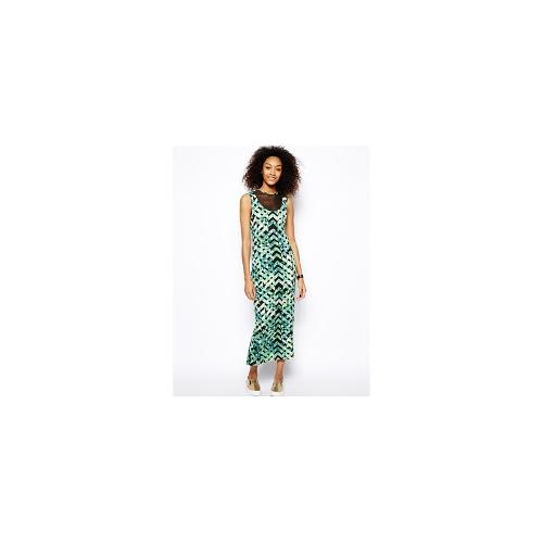 Monki Printed Bodycon Dress With Mesh Inserts