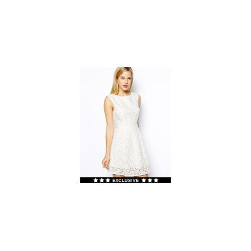 Oasis Exclusive Floral Organza Lace Skater Dress - White