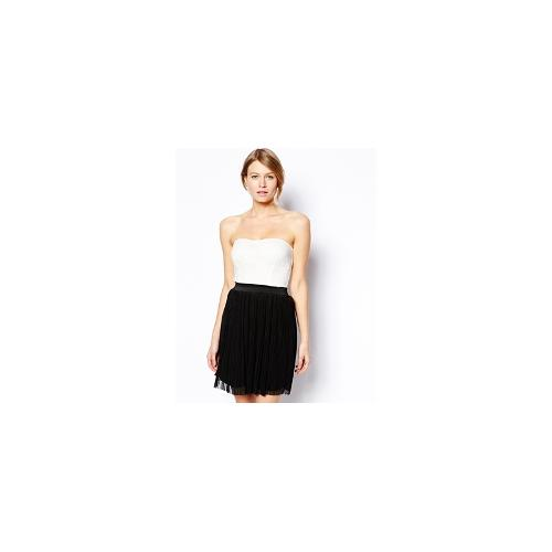 Love Lace Bandeau Skater Dress with Pleat Skirt - Multi
