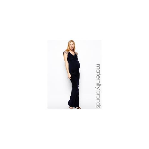 Lipstick Boutique Maternity Maxi dress With Embellished Shoulders - Navy