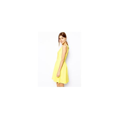 Warehouse Textured Strappy Back Dress - Yellow