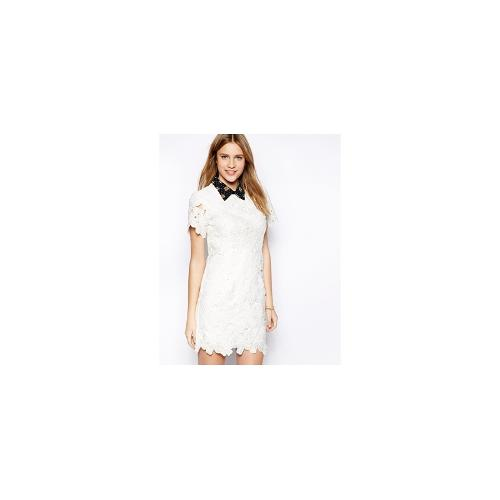 Jovonna Engman Lace Dress with Collar - White