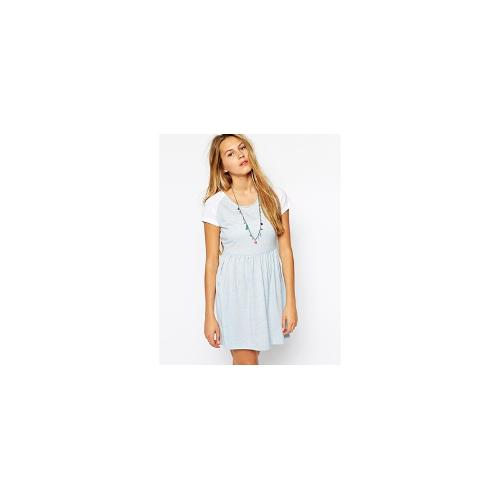 Only Contrast Short Sleeve Jersey Dress - Blue/white
