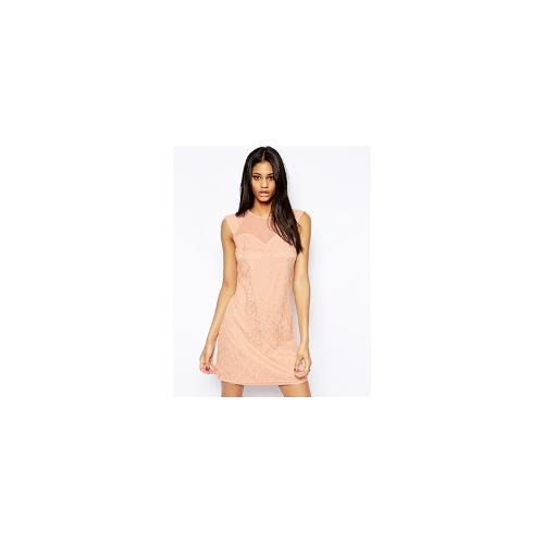 Little Mistress Lace Shift Dress with Sweetheart Neck - Peach