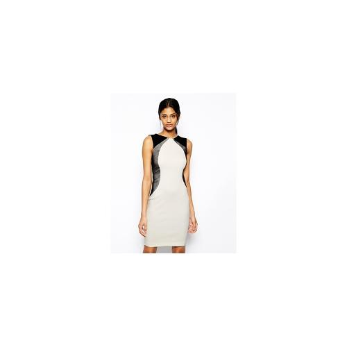 Vesper Sexy Pencil Dress with Contour Mesh Detail - Cream